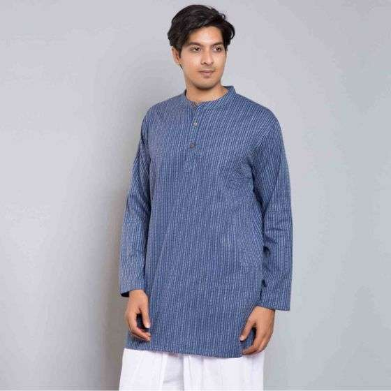 Men Cotton Striped Kurta - Dark Blue