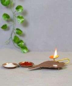Copper Leaf Tea Light Holder