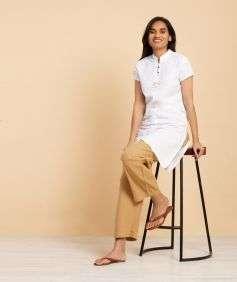 Women Khaki Knitted Drawstring Pants - Organic Cotton