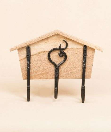 Iron Hook on wooden base - Home with 3 hooks