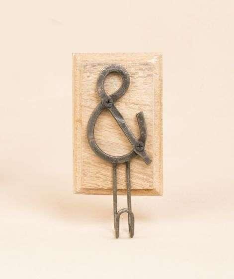 Iron Hook on wooden base - Ampersand