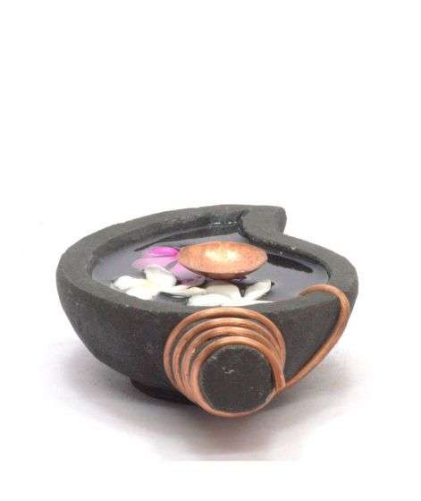 Handcrafted Stone Uruli - Shell with Copper Lamp