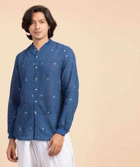 Mens Rozana Shirt Jamdani Blue