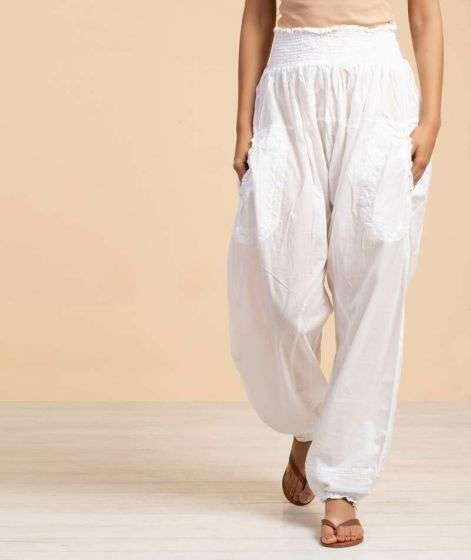 Ladies Embroidery Pant 2 White