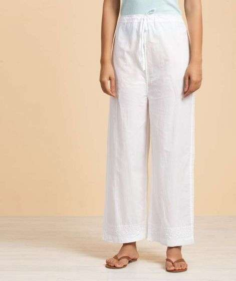 Ladies Embroidery Pant  1 White