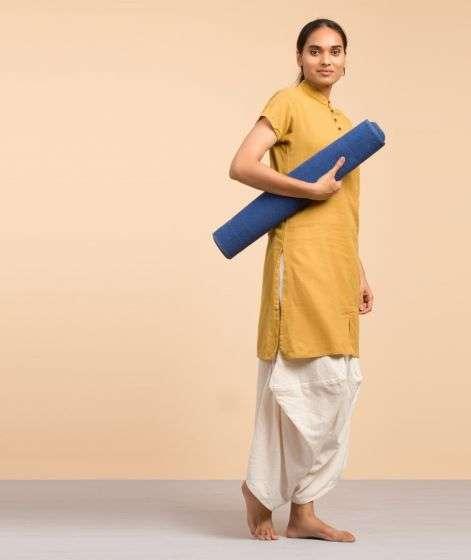 Cotton Rug Yoga Mat Back Rubberized - Blue