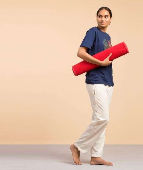 Cotton Rug Yoga Mat Back Rubberized - Red