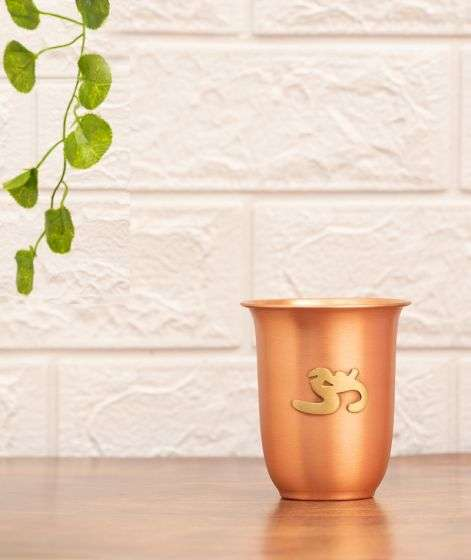 Matte Finish Copper Glass with Brass Aum, 200 ml