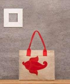 Embroidered Jute Bag (Fish Design)