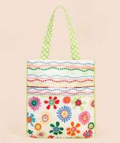 Floral Aari With Wavy Lines Small Tote