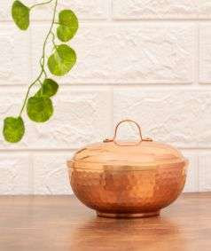 Hammered Copper Bowl with Lid, 450 ml