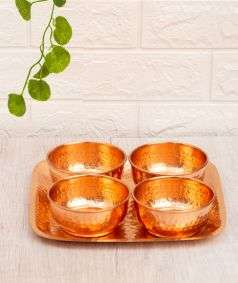 Set of 4 Copper Bowls with Tray