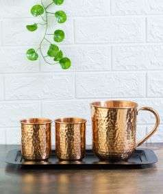 Hammered Copper Water Jug and Glass Set with Steel Tray (1 Jug + 2 Glass + 1 Tray)