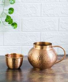 Hammered Copper Water Jug with Tumbler, 1.2 Liters & 200 ml