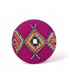 Aztec Beaded Pocket Mirror 3inch Style 3