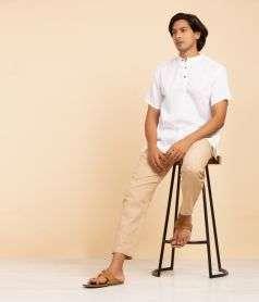 Men Cotton Striped Straight Kurta - White