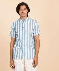 Mens Hand Spun, Hand-woven Dyed Short Sleeve Kurtha Teal