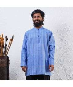 Mens Hand Spun, Hand-woven Dyed Long Sleeve Kurtha Vintage Indigo