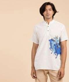Mens Organic Cotton Nandi Kurta - Off White