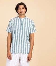 Mens Hand Spun, Hand-woven Short Sleeve Kurtha Blue