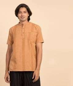 Handloom Charkha Kurtha Brown Stripe