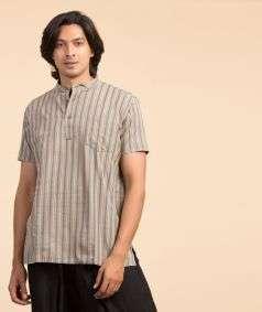 Handloom Charkha Kurtha Blue Brown Stripe