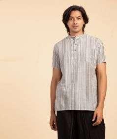 Handloom Charkha Kurtha Black Stripe