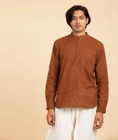 Natural Dyed Hand Spun, Hand-woven Kurta Brown