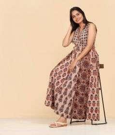 Womens Ajrakh print Dress Style 3