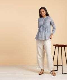 Women Undyed Organic Cotton Drawstring Pant - Off-White