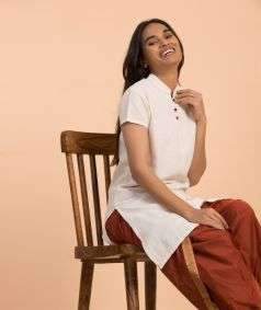 Women Undyed Organic Cotton AUM Kurta - Off-White