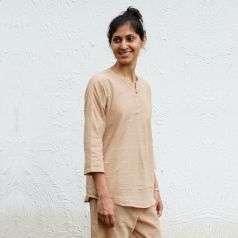 Womens Hand Spun, Hand-woven With Gathered Sleeve Slub Khaki