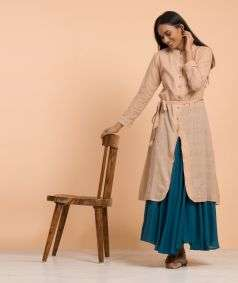 Womens Layered Hand Spun, Hand-woven Kurta Plain Khaki