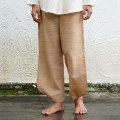 Ladies Hand Spun, Hand-woven Pant Plain Khaki