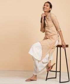 Womens  Hand Spun, Hand-woven Shift Dress Plain Khaki