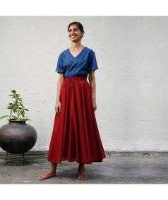 Mulmul Plain Skirt Red