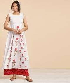 Hand Block Print Box Pleat Dress