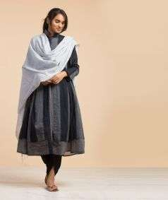 Natural Dyed Bengal Muslin Shawl Blue