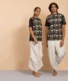 Unisex Cotton Shambho Printed T-Shirt - Black