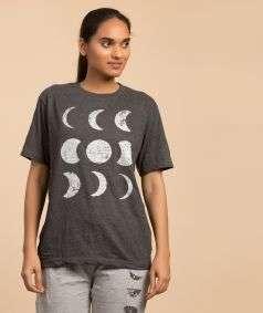 Unisex Cotton Moon Silver Printed T-shirt - Dark Grey