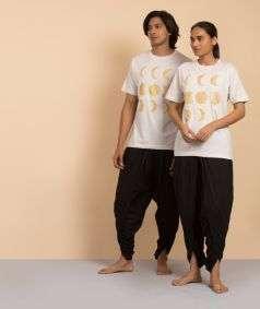 Unisex Cotton Moon Gold Printed T-shirt - Ecru