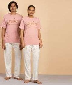 Unisex Cotton Ananta Copper Printed T-shirt - Peach