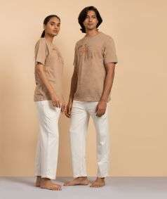 Unisex Cotton Anand Copper Printed T-shirt - Mud