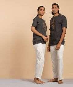 Unisex Dark Grey Cotton Aum Copper Printed T-shirt