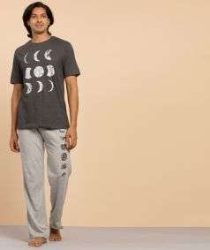 Unisex Moon Printed Track Pants - Light Grey