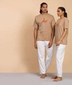 Unisex Cotton Shiva Shiva Printed T-shirt - Mud