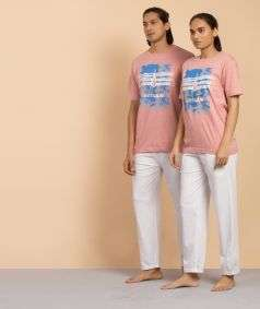 Unisex Cotton Ultimate Outlaw Printed T-shirt - Peach