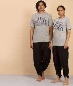 Unisex  Cotton Aum Namah Shivaya Printed T-shirt - Grey
