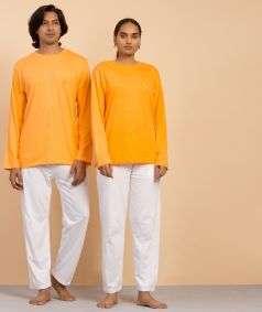 Unisex Organic Cotton Full-sleeve Sadhana T-Shirt - Orange