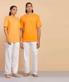 Unisex Organic Cotton Half-sleeve Sadhana T-Shirt - Orange